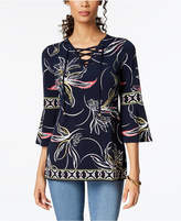 JM Collection Lace-Up Bell-Sleeve Tunic, Created for Macy's