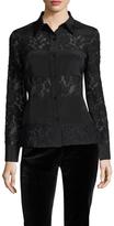 Badgley Mischka Silk Lace Panel Blouse