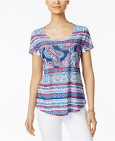 Style and Co Petite Floral-Print Sublimated T-Shirt, Only at Macy's