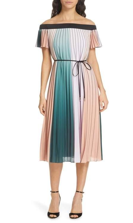 Ted Baker Fernee Colorblock Pleated Dress