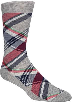 Cole Haan Men Diagonal Plaid Crew Socks