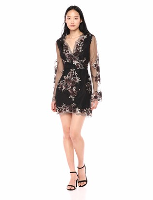 Cupcakes And Cashmere Women's Jansen Embroidered mesh Cross Dress w/Sequin Detail
