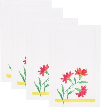 Carolina Herrera Cabana Magazine - X Set Of Four Cocktail Napkins - White Multi