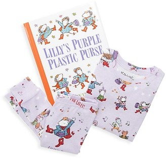 Books to Bed Little Girl's 3-Piece Lilly's Purple Plastic Purse Pajama & Book Set