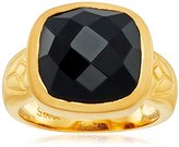 Satya Jewelry Black Onyx Square Lotus Ring, Size 8