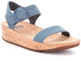 FitFlop Bon Denim Banded Ankle Strap Cork Sandals