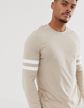 BEIGE Asos Design ASOS DESIGN organic long sleeve t-shirt with stretch with contrast sleeve stripe in