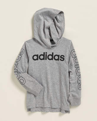 adidas Toddler Boys) Grey Heather Linear Logo Hooded Tee