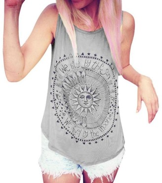 TUDUZ Sexy Women Sun Printed Blouse Sleeveless Vest Tee Shirt Blouse Casual Tank Tops(Grey XL)