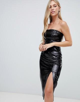 Forever New sequin column midi dress in black
