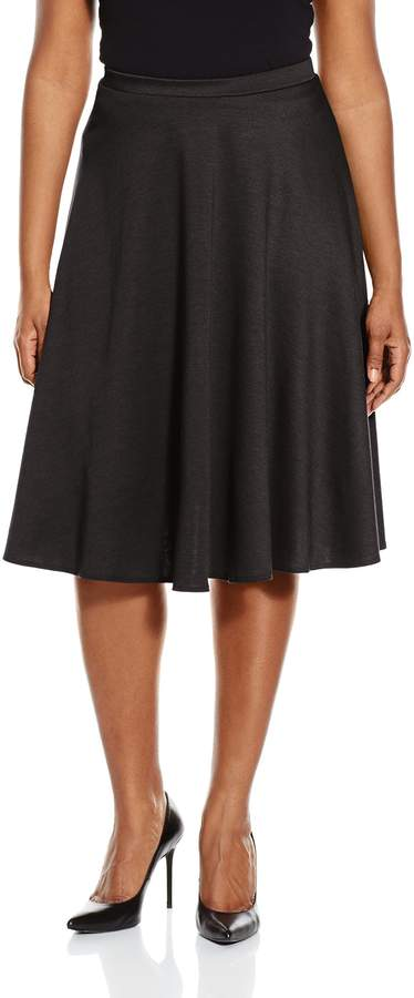 Star Vixen Women's Plus-Size Ponte Midi Skater Full Skirt