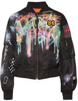 Marc Jacobs Embellished Painted Shell Bomber Jacket - Black
