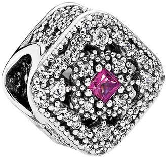 Pandora Silver Cz & Pink Cerise Crystal Fairytale Treasure Charm