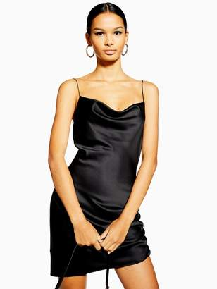 Topshop Mini Slip Dress - Black