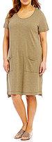 Eileen Fisher Plus Scoop Neck Short Dress