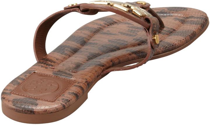 Tory Burch Miller2 Snake-Print Thong Sandal, Park Bench