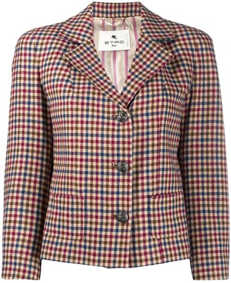 Etro Gingham Patterned Cropped Blazer