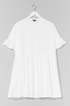 Nasty Gal Womens Frill in Love Mini Tee Dress - White