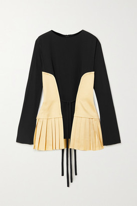 Marni Pleated Canvas And Crepe Blouse - Black