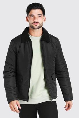 boohoo Mens Black Nylon Coach Jacket With Borg Collar, Black