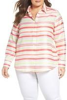 Foxcroft Satin Stripe Shirt (Plus Size)