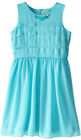 Us Angels Sleeveless Chiffon Tucked Bodice w/ Full Skirt (Big Kids)