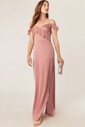 Oasis Pale Pink Ruffle Satin Maxi Dress
