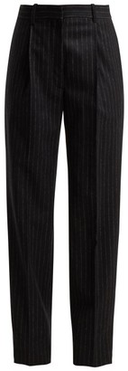 Hillier Bartley Pinstriped Wool Trousers - Womens - Black White