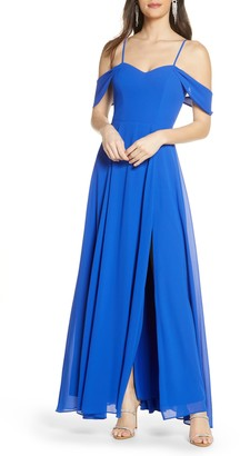 Sequin Hearts Cold Shoulder Tie Back Crepe Gown