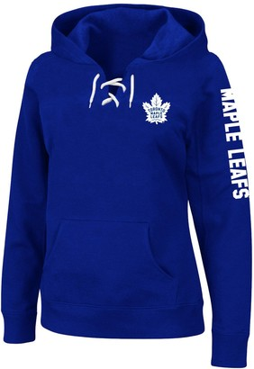 Majestic Women's Blue Toronto Maple Leafs Plus Size Lace-Up Pullover Hoodie