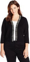 Calvin Klein Women's Plus-Size 3/4 Sleeve Shrug with Pearl Detail