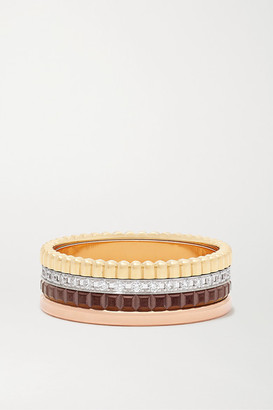 Boucheron Quatre Classique Small 18-karat Yellow, White And Rose Gold, Pvd And Diamond Ring - 54