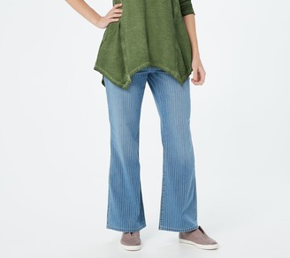 Logo by Lori Goldstein Striped Flared 5-Pocket Jeans
