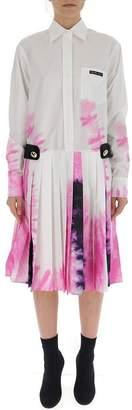 Prada Tie-Dye Pleated Shirt Dress