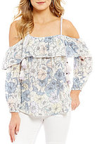William Rast Les Floral Printed Cold Shoulder Ruffle Top