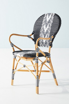 Anthropologie Capri Striped Indoor/Outdoor Bistro Chair By in Black Size ALL