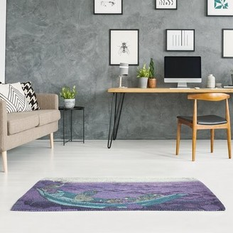 East Urban Home Boat Among the Lily Pads Purple/Blue Area Rug East Urban Home Rug Size: Rectangle 2' x 3'