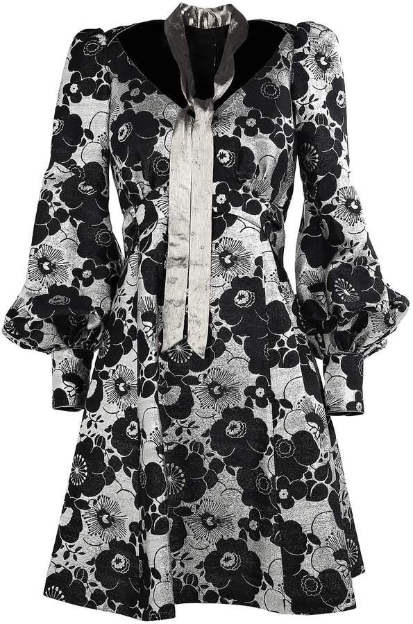 Marc Jacobs Metallic-flowers Silk-blend Mini Dress