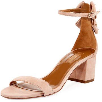 Aquazzura Siena Suede Block-Heel Sandal