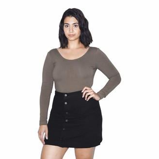 American Apparel Women's Denim Button Front A-Line Mini Skirt