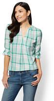 New York & Co. Soho Soft Shirt - Split-Neck Popover - Plaid