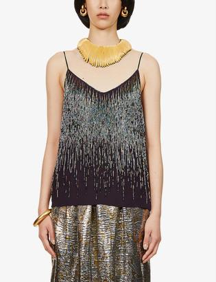 Dries Van Noten Bead-embellished silk camisole