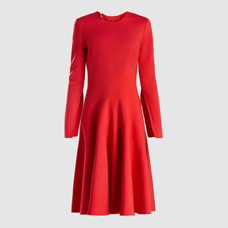 Oscar de la Renta Red Stretch Wool-Crepe Dress Size US 16