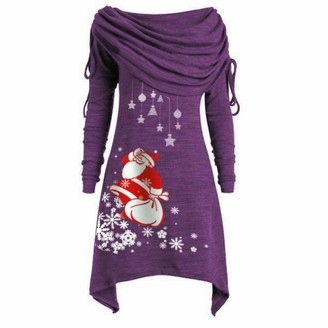 Noband Women's Ugly Christmas Long Sleeve Hoodies Pullover Plus Size Print Tunic Dress Xmas Casual Tops for Women XL-5XL Purple