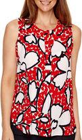 Liz Claiborne Sleeveless Print Henley Tunic