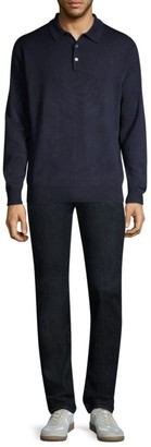 Peter Millar Honeycomb Wool Silk Long-Sleeve Polo
