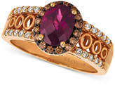 LeVian Le Vian Chocolatier® Raspberry Rhodolite® (1-1/3 ct. t.w.) & Diamond (1/3 ct. t.w.) Ring in 14k Rose Gold