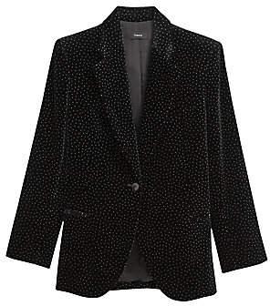 Theory Women's Cinched Pindot Blazer - Size 0