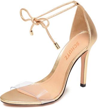 Schutz Josseana Metallic Ankle-Tie Sandals