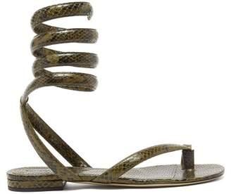 Bottega Veneta Wrap-around Snake-effect Leather Sandals - Womens - Khaki